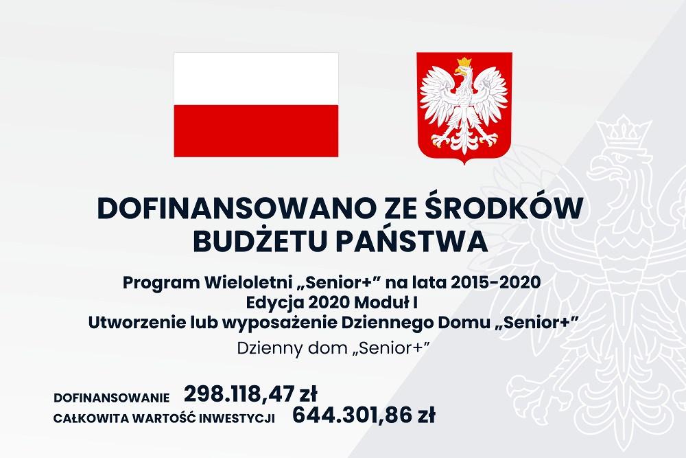 Tablica informacyjna odofinansowaniu zProgramu Wieloletniego Senior+ nalata 2015-2020